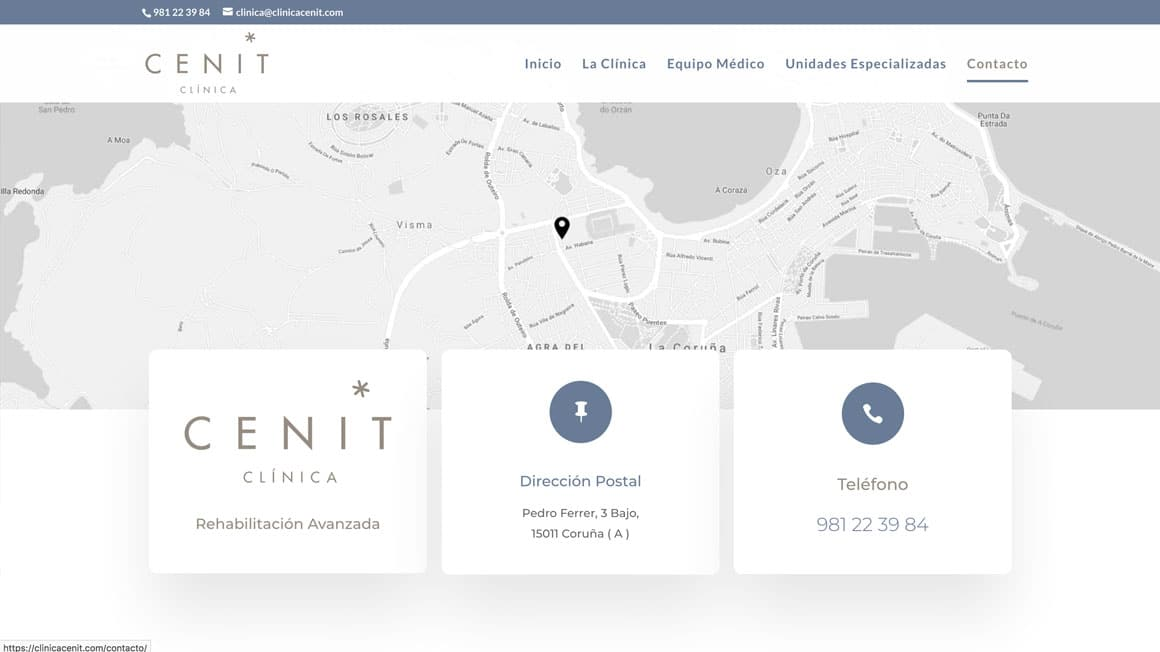Rediseño de pagina web para Clínica Cenit